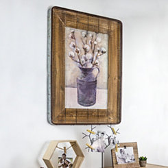 Cotton Vase Wood and Galvanized Framed Art Print