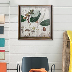 Floral Leaf Wood and Galvanized Framed Art Print