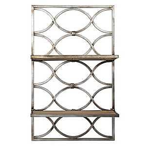 Oval Design Wood and Metal Hanging Shelves Rack