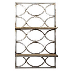 Oval Design Wood and Metal Hanging Shelves Rack