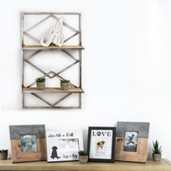 Diamond Design Wood and Metal Hanging Shelves Rack