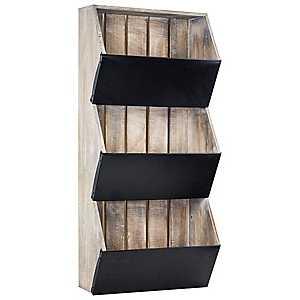 Rustic Wood and Metal 3-Tier Wall Shelf