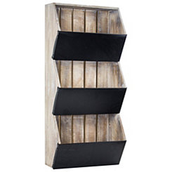 Rustic Wood and Metal 3-Tier Wall Shelf