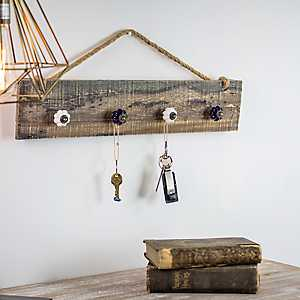 Rustic Wood Organizer with Knob Hooks
