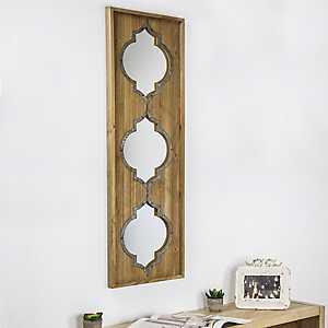 Art Decor Natural Wood and Metal Panel Wall Mirror