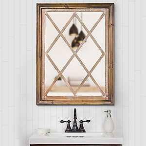 Darla Rustic Wood Windowpane Wall Mirror