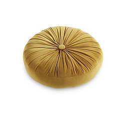 Gold Velvet Buttercup Round Pillow