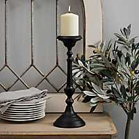Black Metal Tapered Candlestick, 14 in.