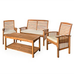 Acacia Brown 4-Pc. Outdoor Patio Set with Cushions