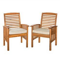 Acacia Brown Outdoor Chair Set with Cushions