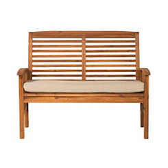 Acacia Brown Wood Loveseat Bench with Cushion