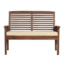 Acacia Dark Brown Wood Loveseat Bench with Cushion