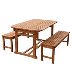 Brown Acacia Wood 3-Pc. Outdoor Dining Set