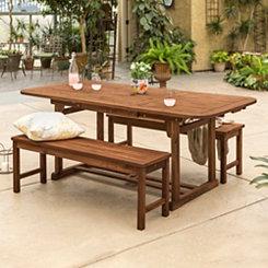 Dark Brown Acacia Wood 3-Pc. Outdoor Dining Set