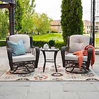 Brown Rattan Swivel with Plush Cushions Patio Set