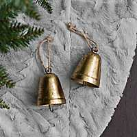 Gold Metal Bell Christmas Ornament, Set of 2