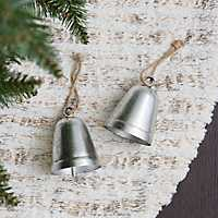 Silver Metal Bell Christmas Ornament, Set of 2