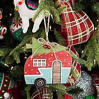 Vintage Camper Hauling Tree Ornament