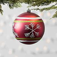Red Striped Snowflake Ball Ornament
