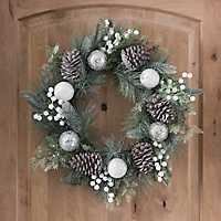 Silver Ornament Pine Wreath