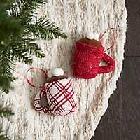 Hot Cocoa Knit Ornament, Set of 2