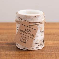Birch Bark LED Pillar Candle, 4 in.