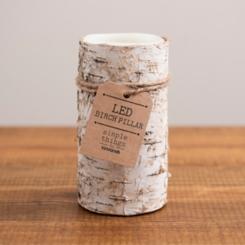 Birch Bark LED Pillar Candle, 6 in.