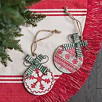 Silver and Green Metal Bow Ornament, Set of 2