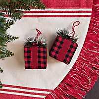 Red Buffalo Check Gift Box Ornaments, Set of 2