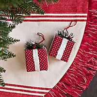 Red Polka Dot Gift Box Ornaments, Set of 2