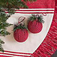 Red Polka Dot Ball Ornaments, Set of 2