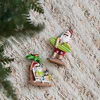 Beach Santa Ornaments, Set of 2