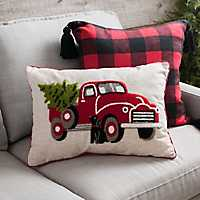 Christmas Truck with Dog Accent Pillow