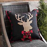 Burlap and Plaid Deer Christmas Pillow