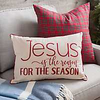 Red Jesus Is The Reason Christmas Accent Pillow