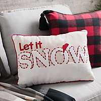Red and White Let It Snow Accent Pillow