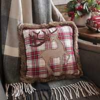 Faux Fur Trimmed Plaid Reindeer Pillow