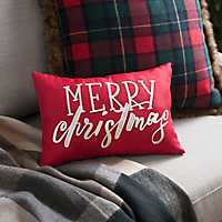 Red Stitched Merry Christmas Accent Pillow
