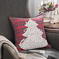 Plaid Holly Jolly Christmas Tree Pillow