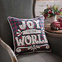 Plaid Joy To The World Pillow