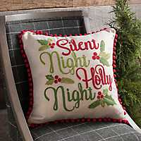 Red and Green Silent Night Pom Pom Pillow