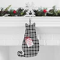 Black and White Buffalo Check Cat Stocking