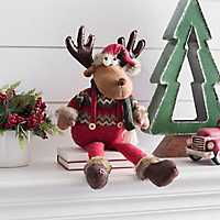 Plush Plaid Moose Shelf Sitter