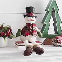 Plush Plaid Snowman Sitter