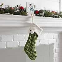 Green Knit Christmas Stocking with Poms