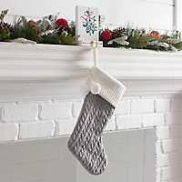 Gray Knit Christmas Stocking with Poms