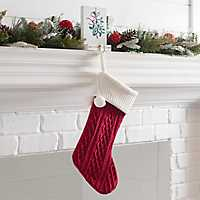 Red Knit Christmas Stocking with Poms