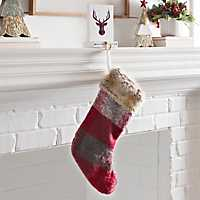Red Faux Fur and Skein Christmas Stocking