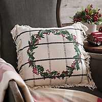 William Wreath Fringe Pillow