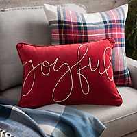 Joyful Cord Script Accent Pillow